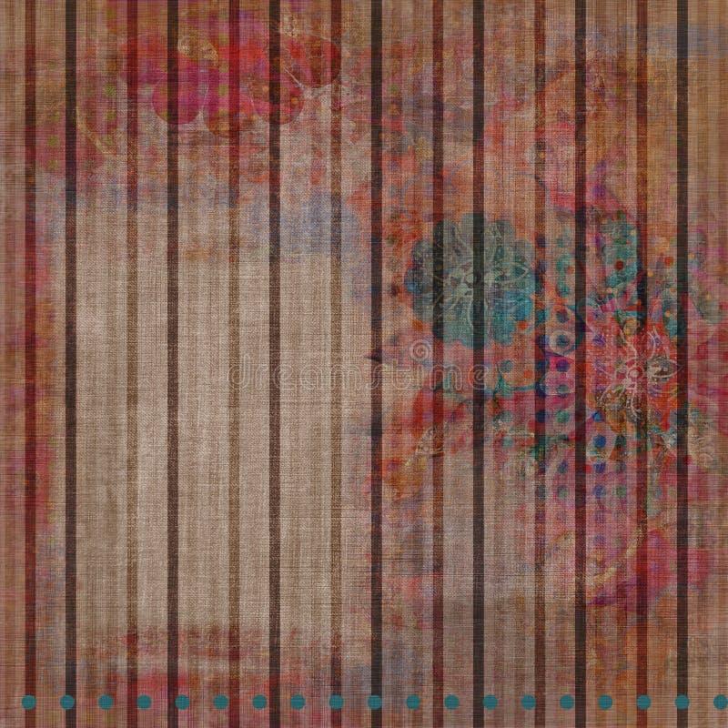Tappezzeria floreale del Bohemian di Grunge dell'annata illustrazione vettoriale