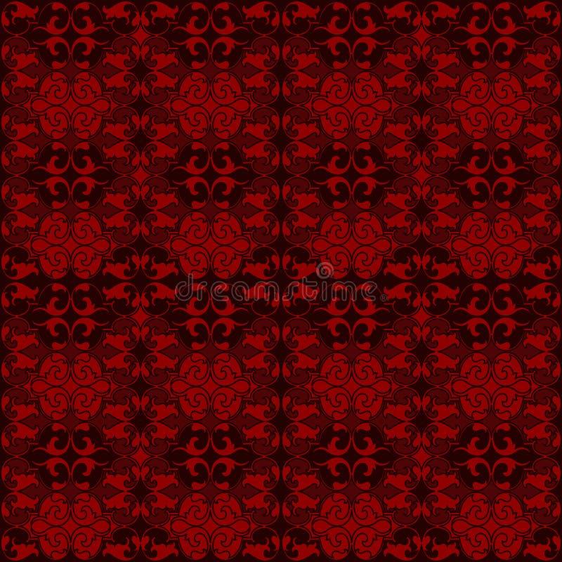 Tappezzeria rossa del damasco con i modelli floreali illustrazione di stock