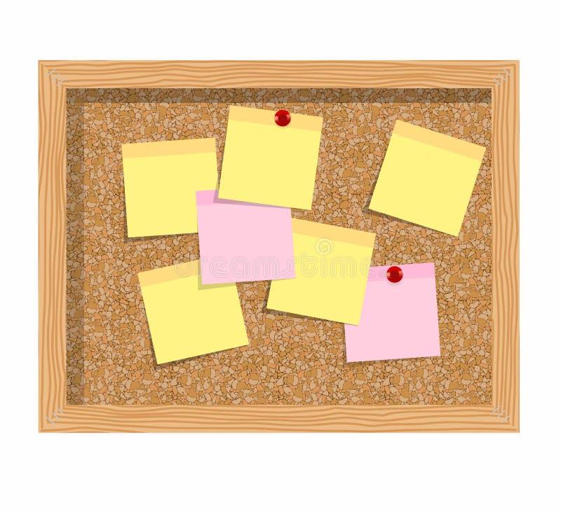 Tappi il bordo isolato sopra fondo bianco con i fogli di carta per le note illustrazione vettoriale