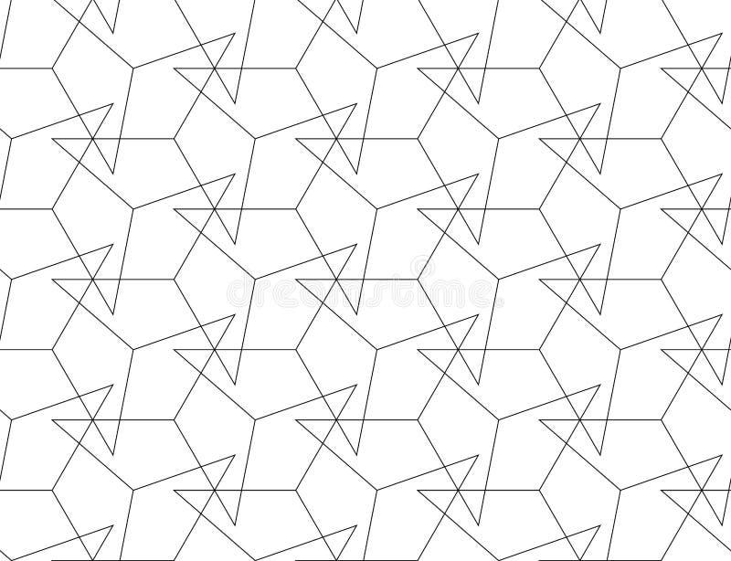 TAPPING LINEAR SEAMLESS VECTOR PATTERN. MODERN STYLISH MONOCHROME MESH TEXTURE. TRENDY CROSSING GEOMETRIC DESIGN royalty free illustration