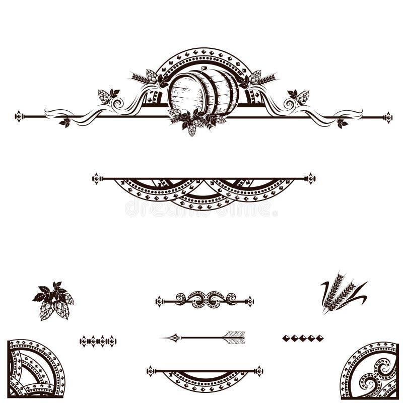 Tappningöletikett royaltyfri illustrationer