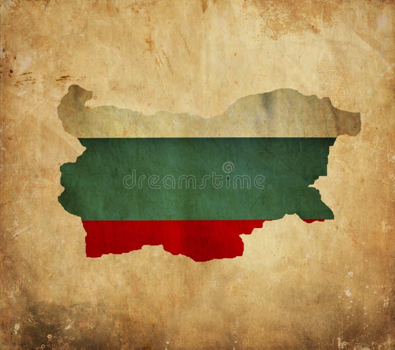 Tappningöversikt av Bulgarien på grungepapper royaltyfria foton