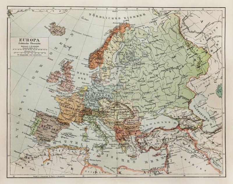 Tappningöversikt av Europa på slutet av det 19th århundradet royaltyfria bilder