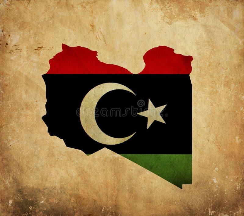 Tappningöversikt av Libyen på grungepapper royaltyfria bilder