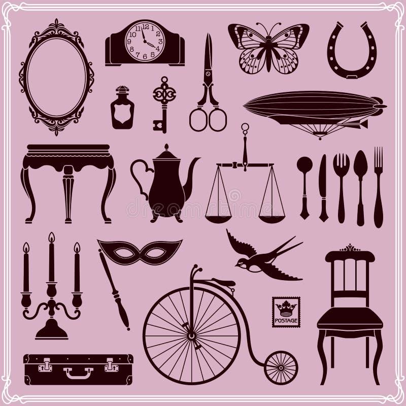Tappning anmärker och symbolsuppsättning 2 royaltyfri illustrationer