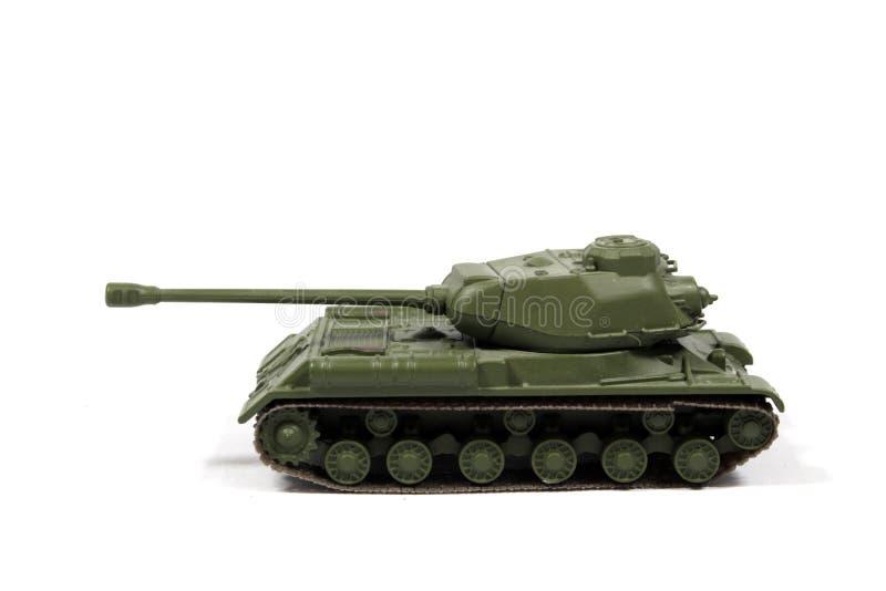 Tappning anv?nde barnets Toy Tank On White Background royaltyfria foton