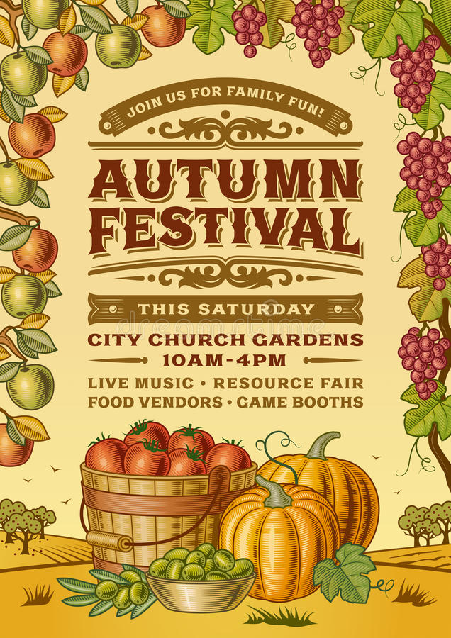 Tappning Autumn Festival Poster vektor illustrationer