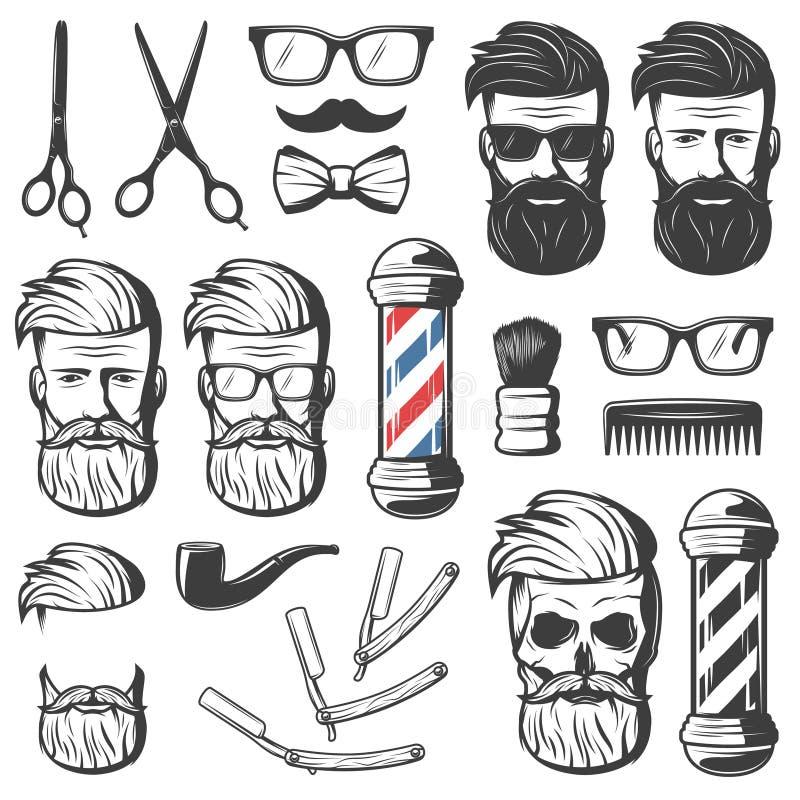 Tappning Barber Elements Set royaltyfri illustrationer