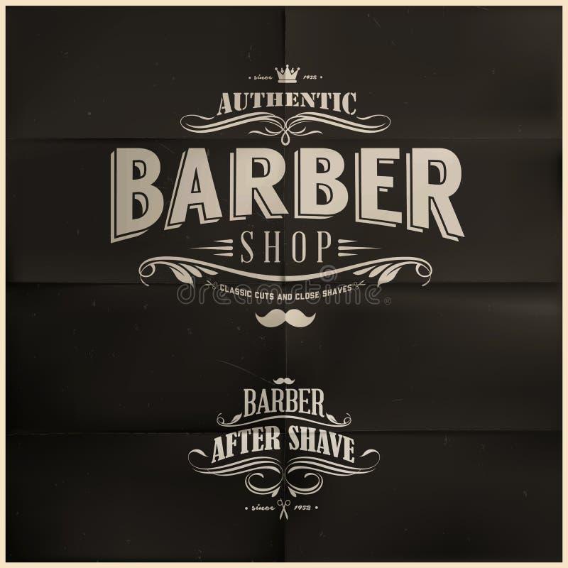 Tappning Barber Shop Badges royaltyfri illustrationer