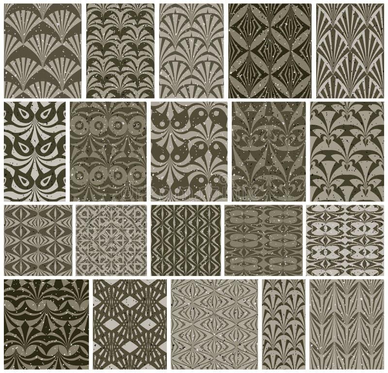 Tappning belägger med tegel sömlösa modeller, vektorse för 20 monokrom designer vektor illustrationer