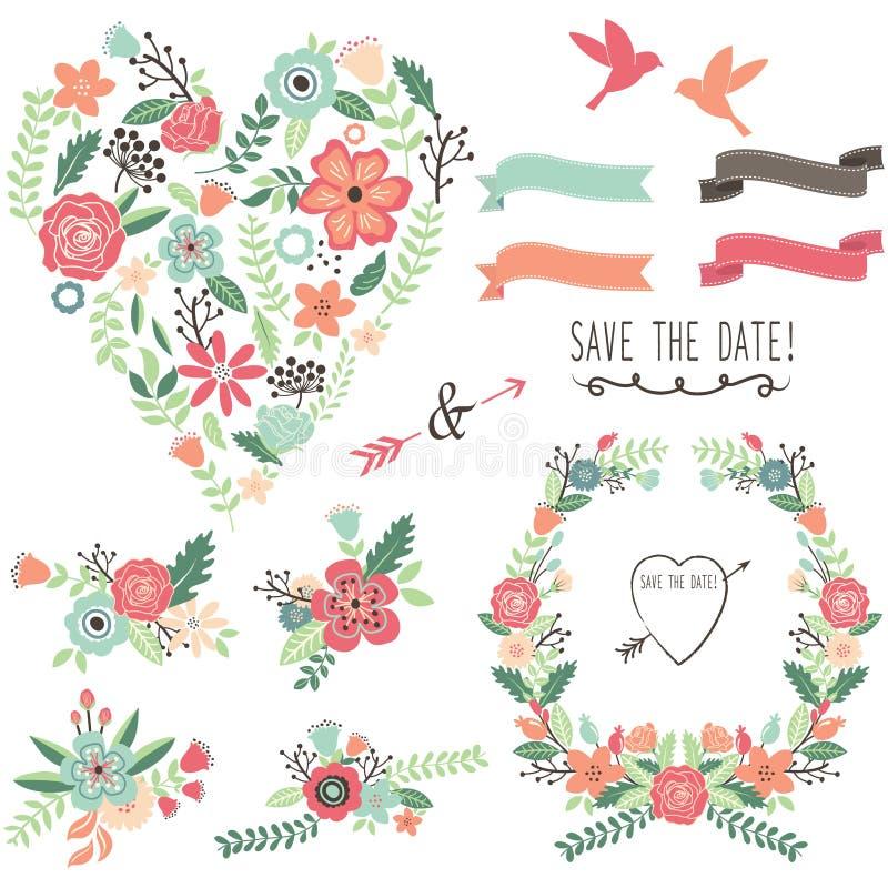 Tappning blommar bröllophjärtabeståndsdelar stock illustrationer