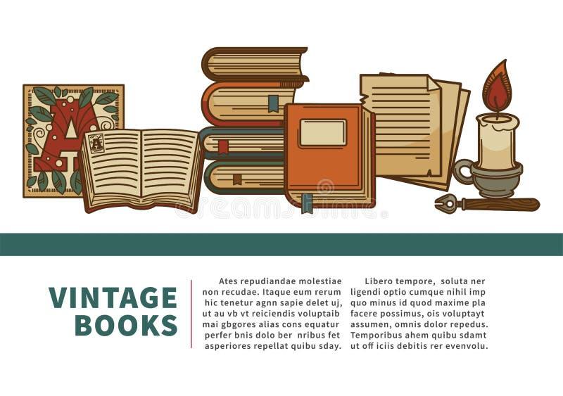 Tappning bokar manuskriptet, och volymer för historieläroböcker traver royaltyfri illustrationer