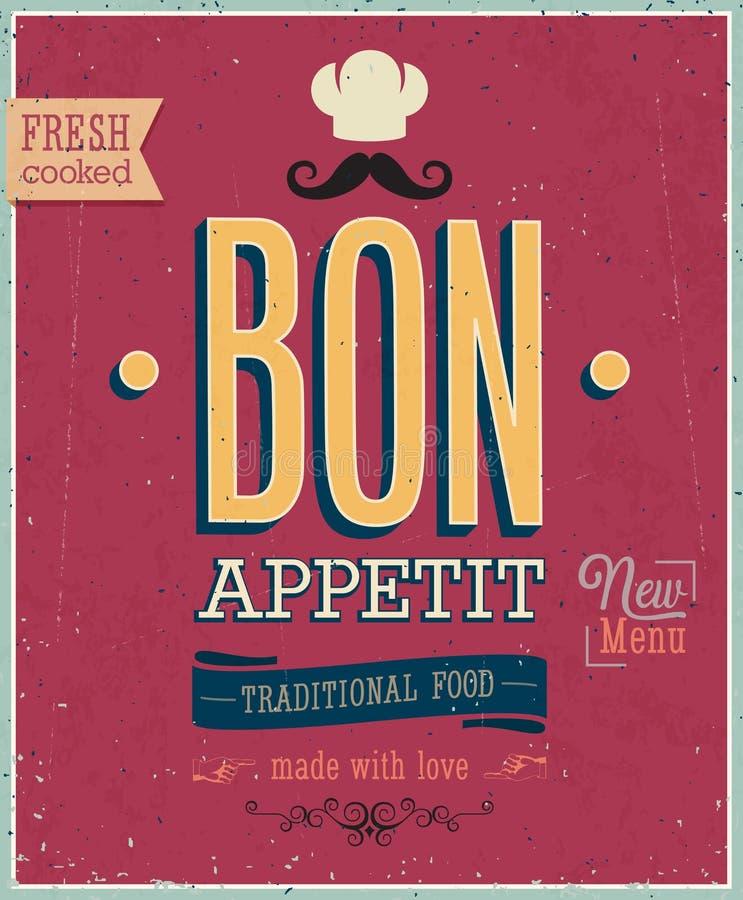 Tappning Bon Appetit Poster. royaltyfri illustrationer