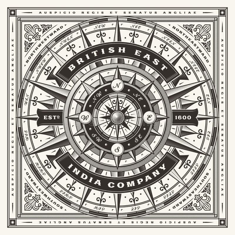 Tappning Britt Öst Indien Företag nautisk typografi en färg royaltyfri illustrationer