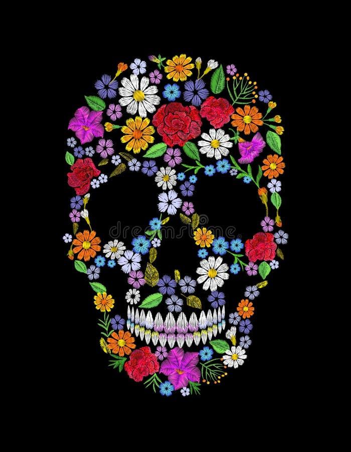 Tappning broderad blommaskalle Design för Muertos död dagmode royaltyfri illustrationer