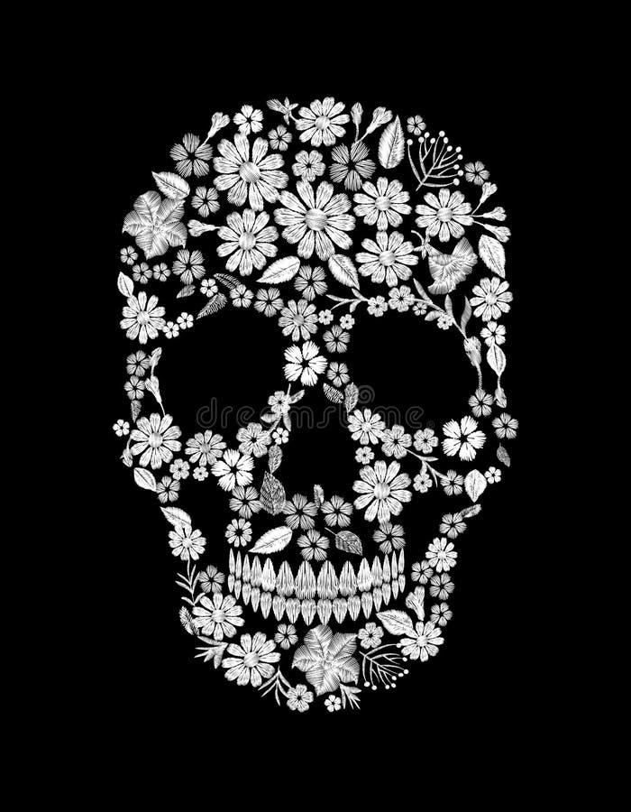 Tappning broderad blommaskalle Tryck för garnering för design för Muertos dött dagmode royaltyfri illustrationer