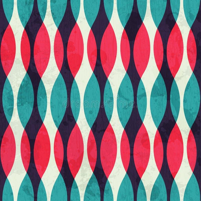 Tappning buktar seamless texturerar med grunge verkställer royaltyfri illustrationer