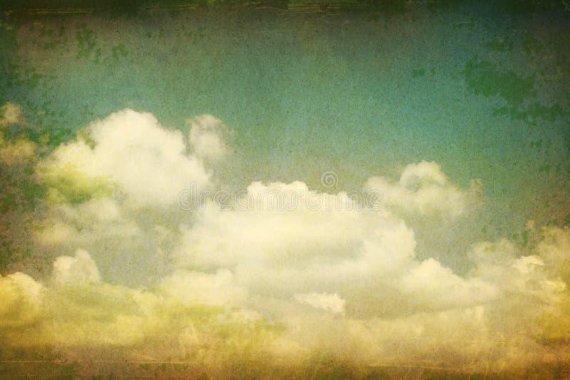 Tappning clouds grungepapper. stock illustrationer