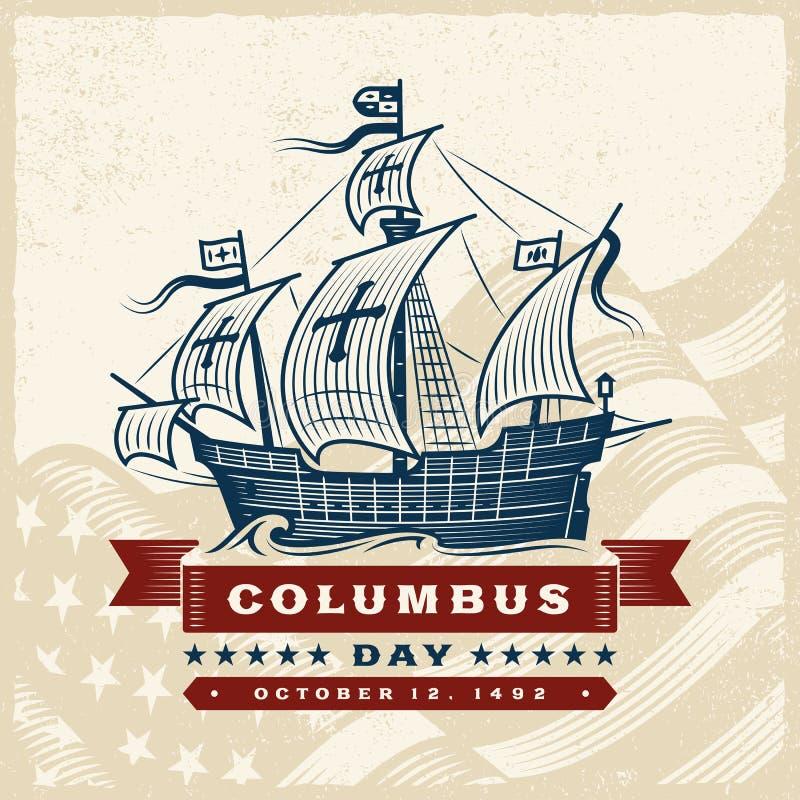 Tappning Columbus Day Label stock illustrationer