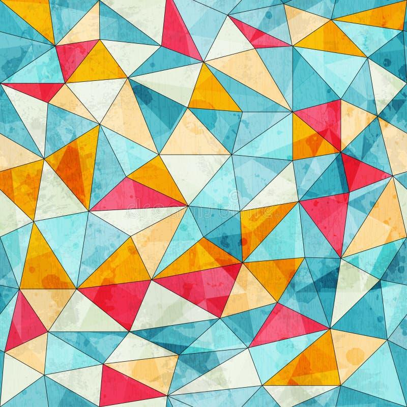 Tappning färgad sömlös modell för trianglar med grungeeffekt royaltyfri illustrationer