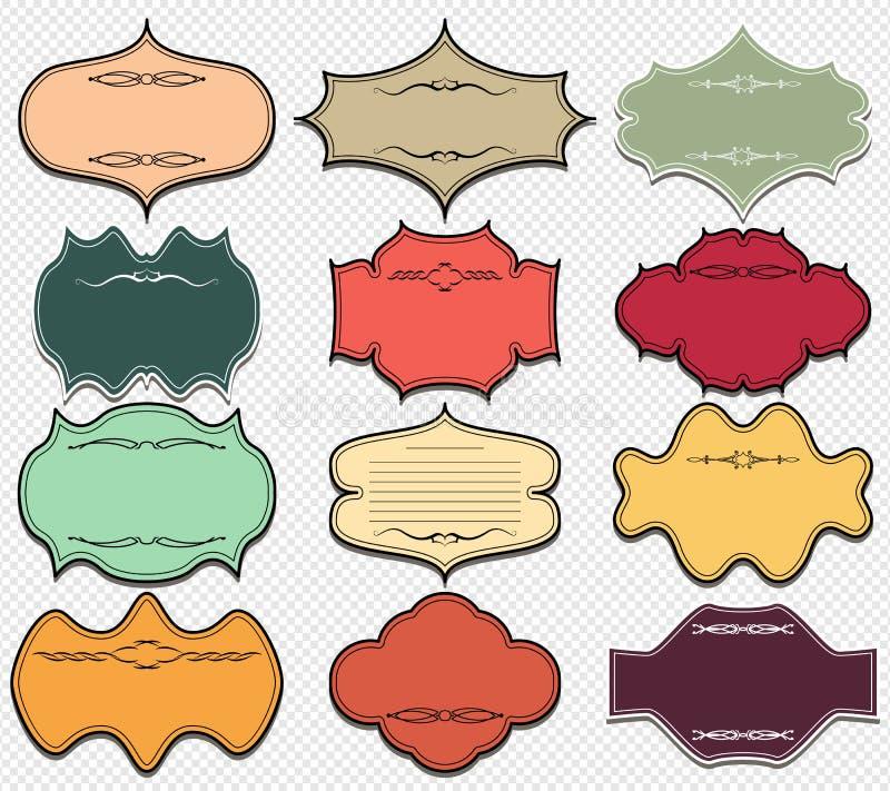 Tappning färgade ramar retro set för designelement royaltyfri illustrationer