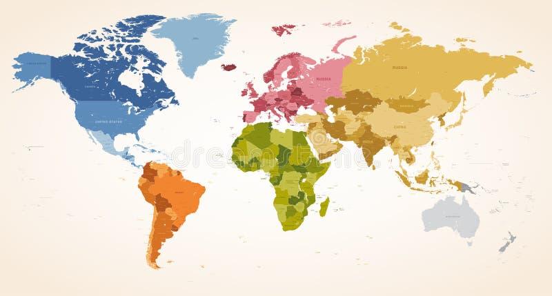 Tappning färgar den politiska världskartan för vektorn vektor illustrationer