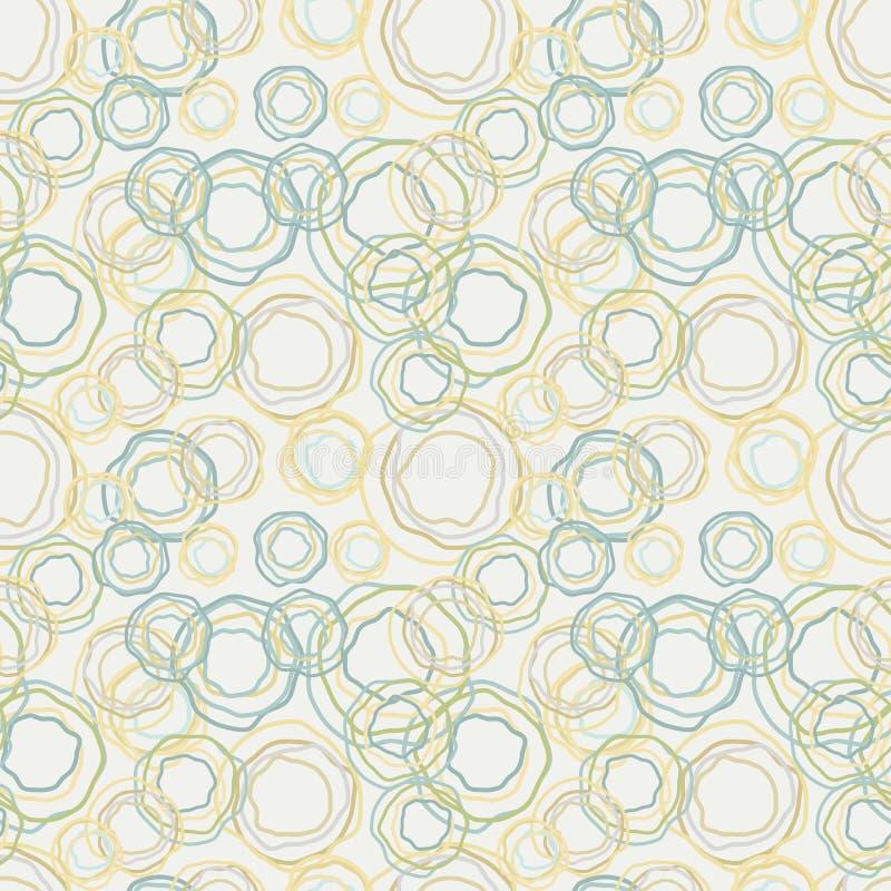 Tappning färgar krökt cirklar mönstrar - seamless ba royaltyfri illustrationer