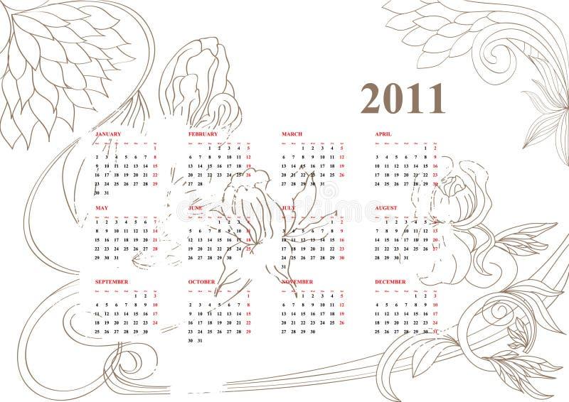 tappning för 2011 kalender royaltyfri illustrationer