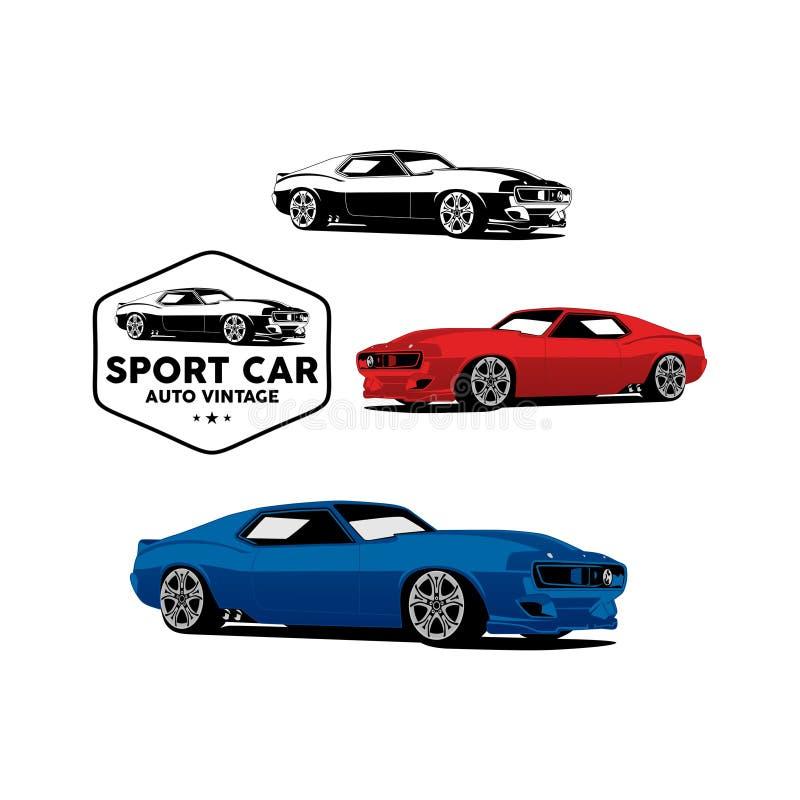 Tappning för automatisk för sportbil med emblemlogovektorn stock illustrationer