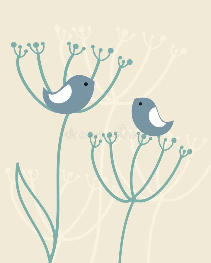 tappning för bakgrundsfågelblommor royaltyfri illustrationer