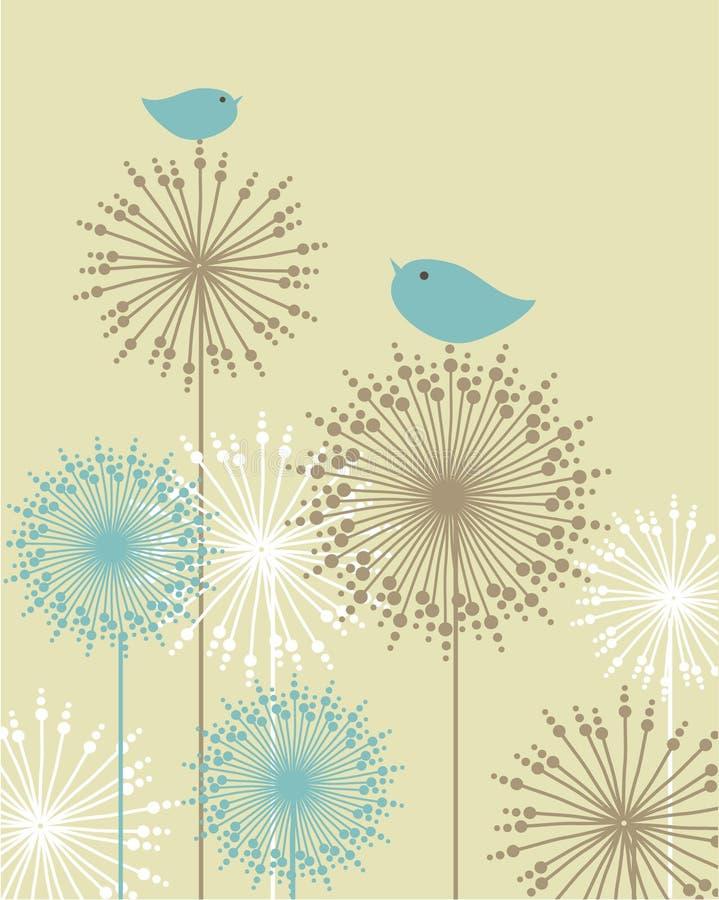 tappning för bakgrundsfågelblommor vektor illustrationer