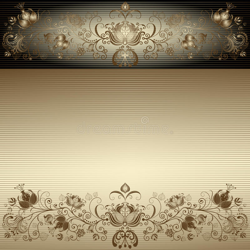 tappning för easter ramguld royaltyfri illustrationer