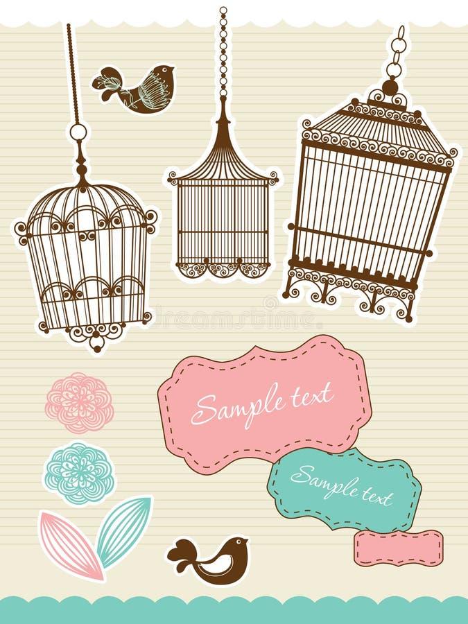 tappning för fågelburelementscrapbook stock illustrationer
