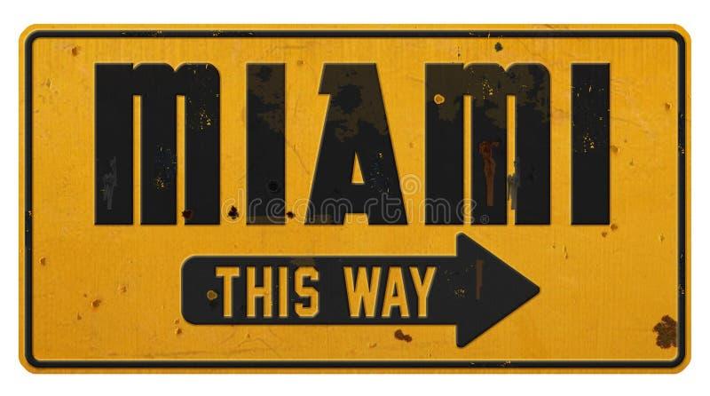 Tappning för Grunge för metall för Miami Florida gatatecken Retro arkivbilder