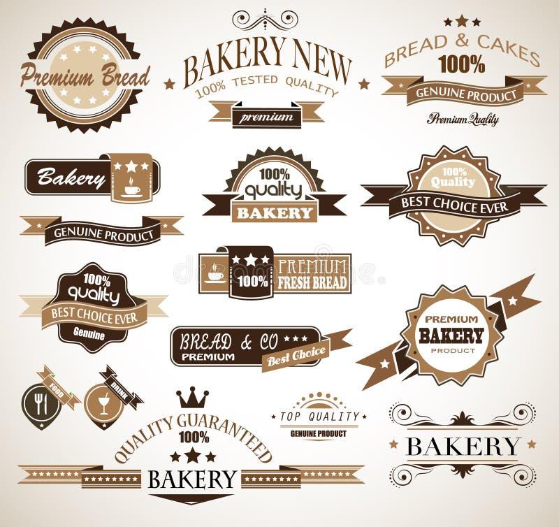 tappning för högvärdig stil för bagerisamling themed royaltyfri illustrationer