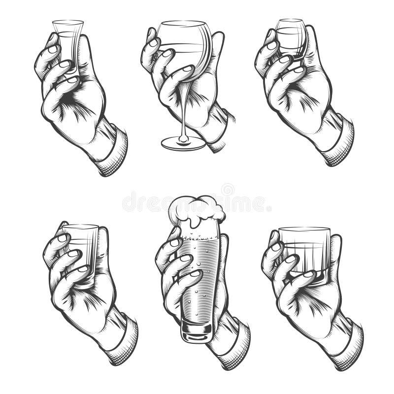 Tappning för handinnehavdrinken skissar symboler royaltyfri illustrationer