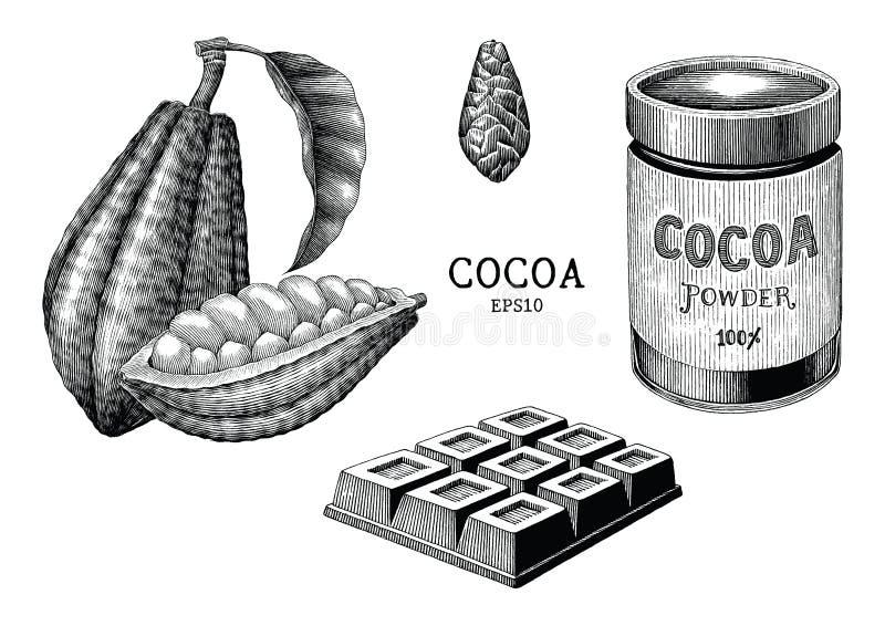Tappning för kakaoväxt- och produkthandattraktion som inristar stilisolat vektor illustrationer