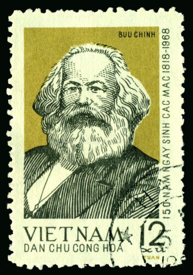 tappning för Karl Marx portostämpel royaltyfria bilder