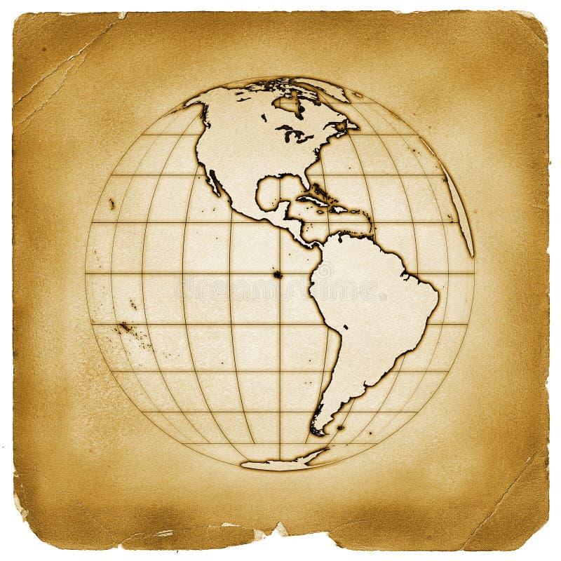 tappning för planet för jordjordklot gammal paper stock illustrationer