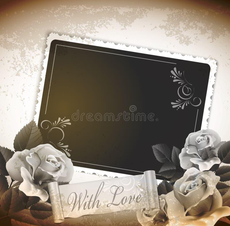 tappning för ro för bakgrundsgrunge romantisk stock illustrationer