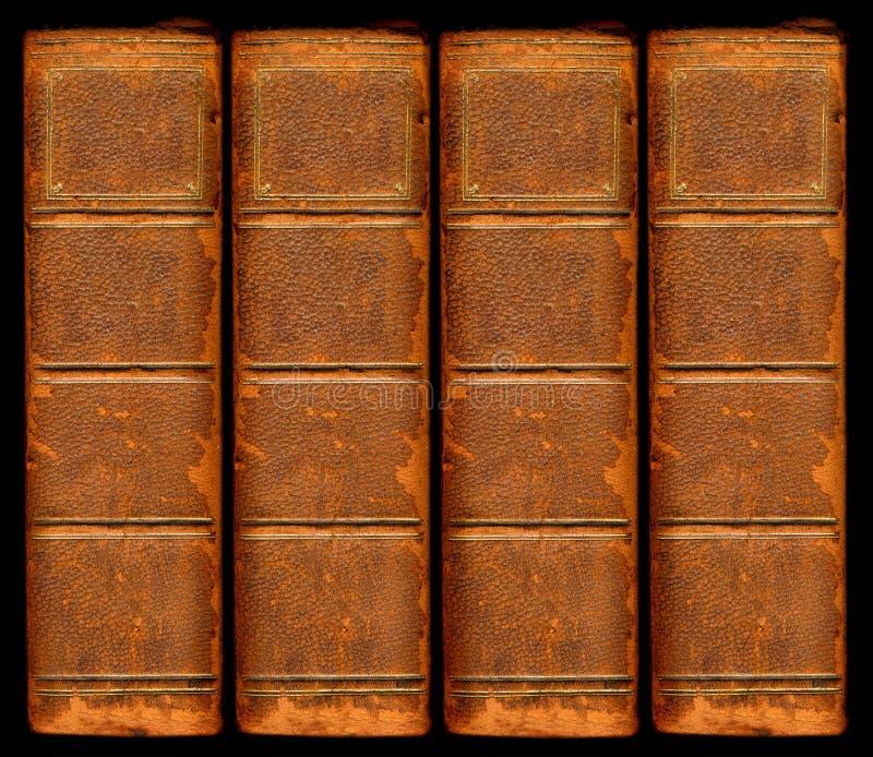 tappning för ryggar för bokläder gammal royaltyfria bilder