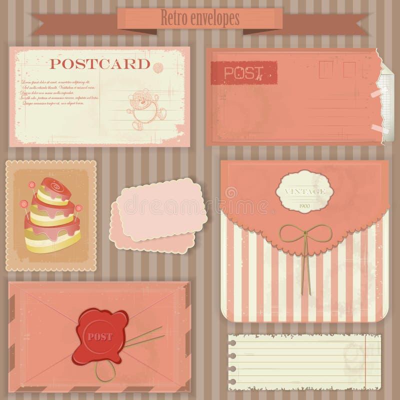 tappning för set för kuvertstolpevykort retro royaltyfri illustrationer