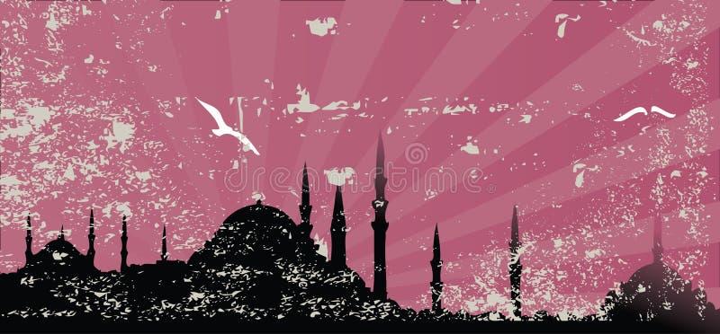 tappning för silhouette för grungemoskéraster stock illustrationer