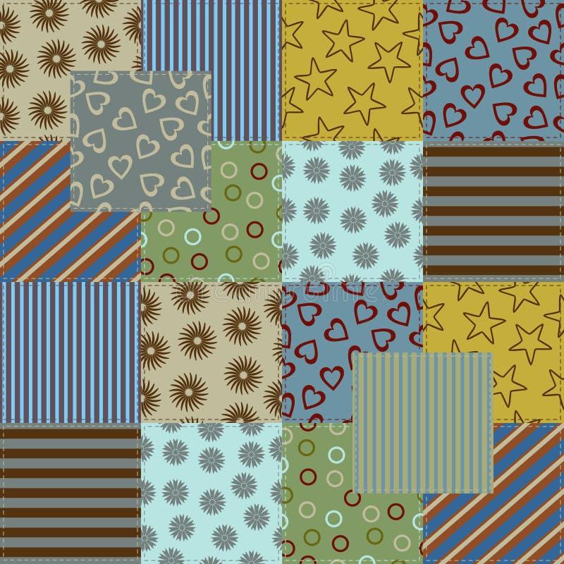 Tappning för tyg för patchworkstilefterföljd royaltyfria foton