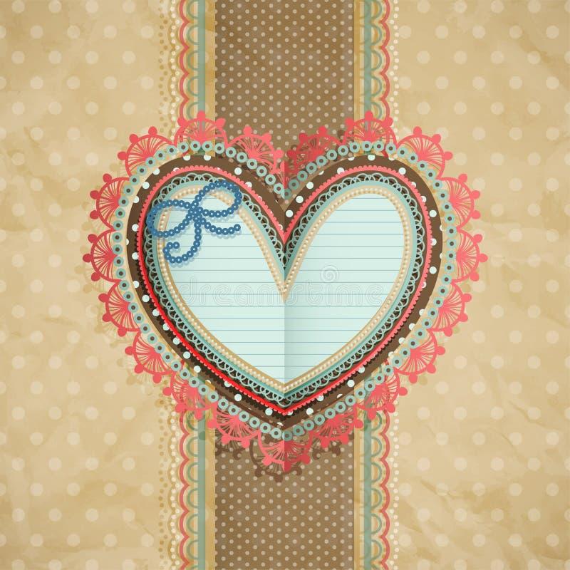 tappning för valentin för kortdaghjärta lacy s vektor illustrationer
