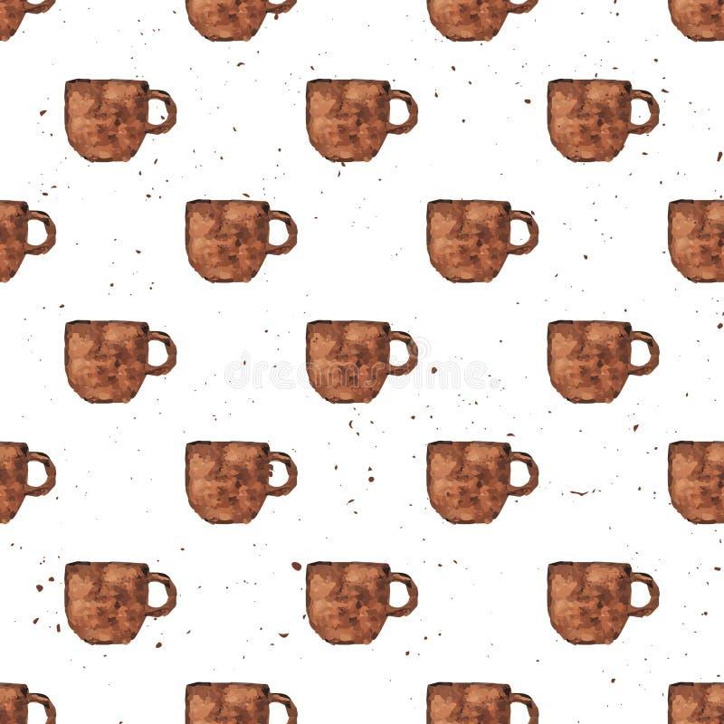 Tappning för vattenfärghandattraktion texturerade den sömlösa modellen för kaffekoppen royaltyfri illustrationer