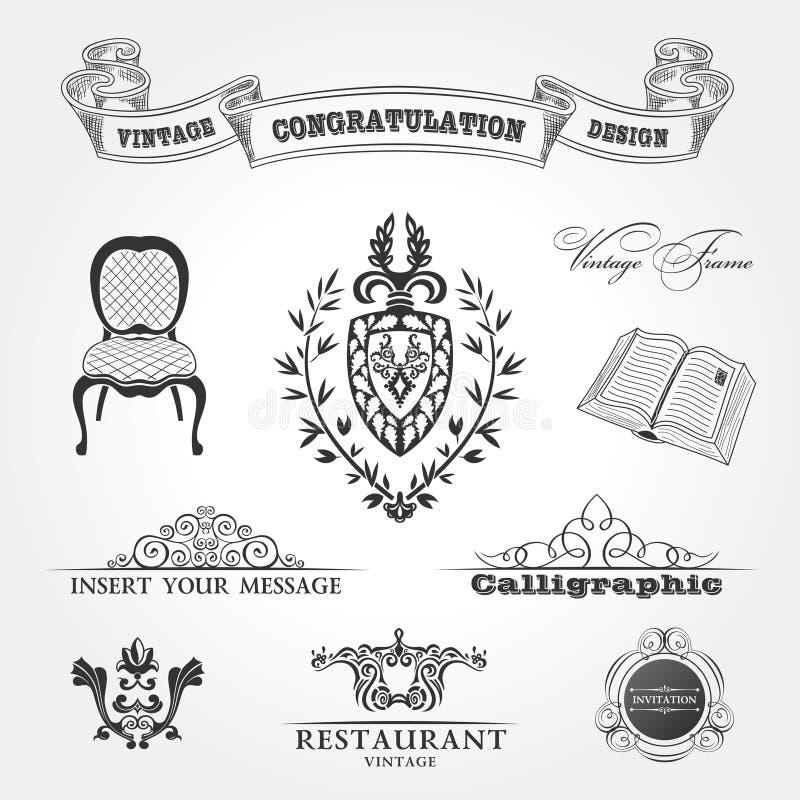 tappning för vektor för band för bokstolselement royaltyfri illustrationer