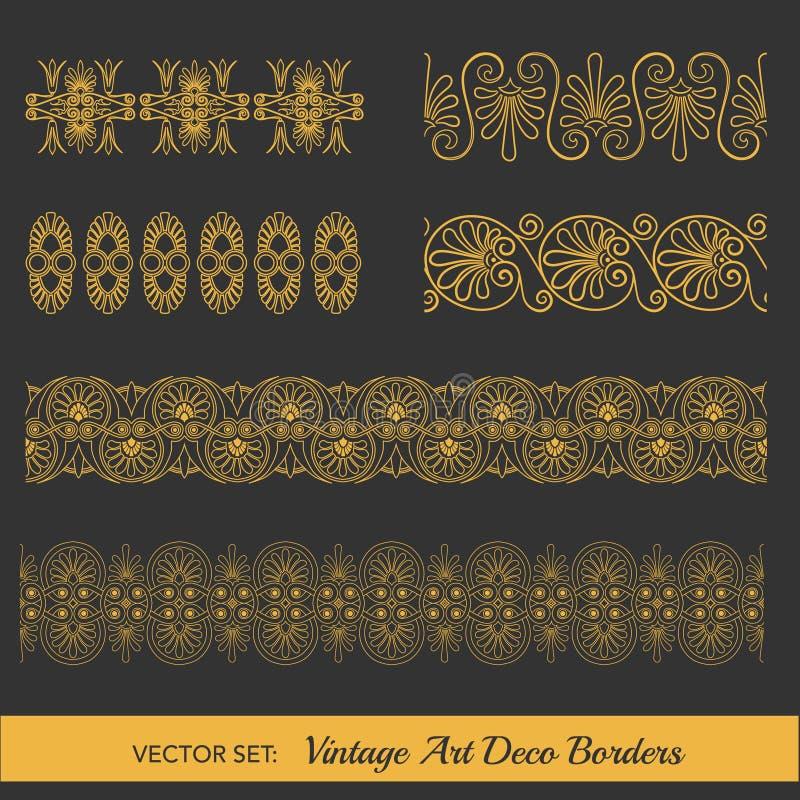 tappning för vektor för kantillustration set vektor illustrationer