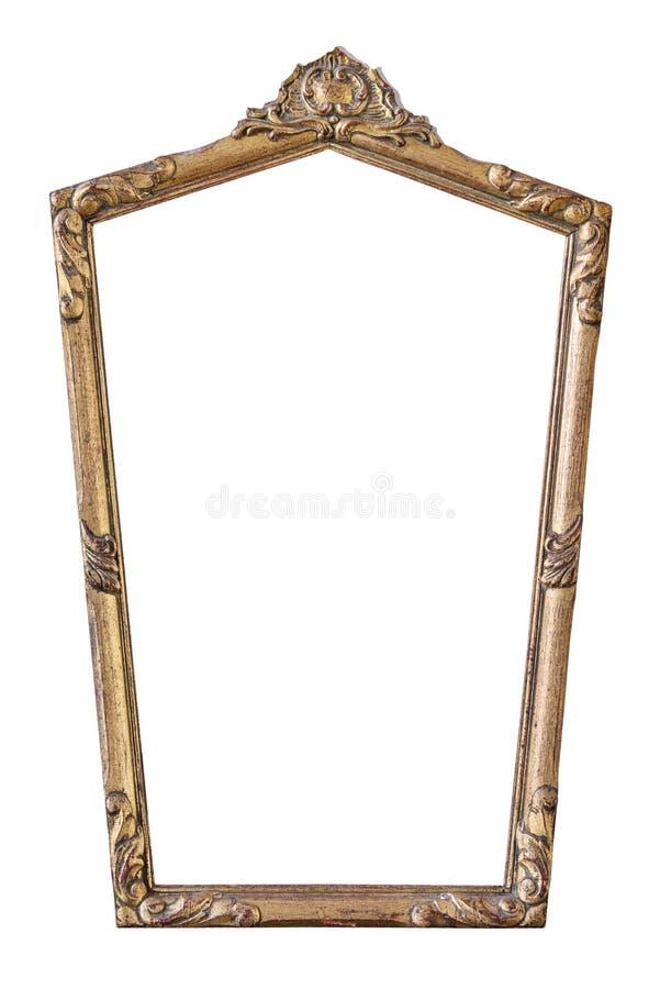 Tappning förgyllde den femhörniga ramen med en prydnad som isolerades på vit royaltyfria bilder