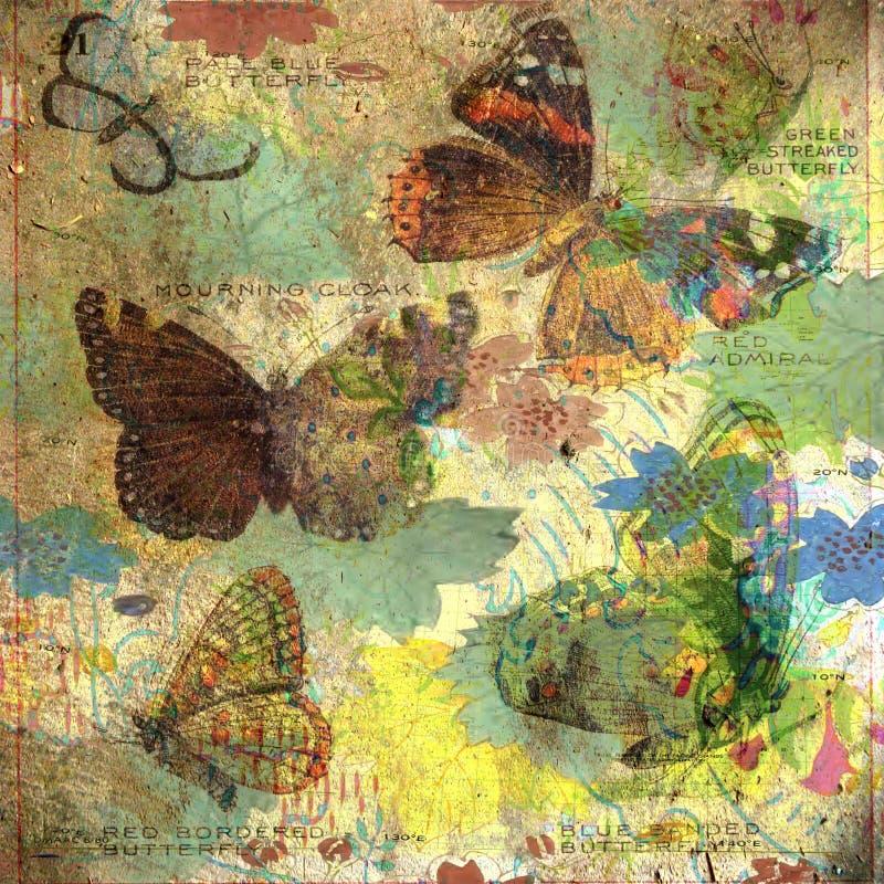 Tappning - fjärilsCollagebakgrund inramar stock illustrationer